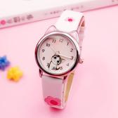 兒童手錶女孩日本溫暖小萌貓清新起司私房貓可愛卡通學生石英手錶【快速出貨】