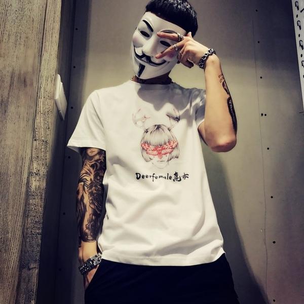 FINDSENSE MD 日系 潮 男 寬鬆 街頭時尚 鹿頭美女印花 短袖T恤