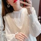 蕾絲打底衫 法式蕾絲上衣女春秋2021新款長袖襯衫洋氣花邊內搭小衫白色打底衫 韓國時尚週