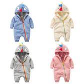 嬰兒連體衣秋冬 寶寶3-6個月長袖爬服卡通加絨刷毛哈衣新生兒外出服冬