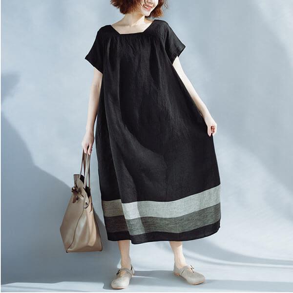 文藝下擺拼接方領寬鬆顯瘦長洋裝-中大尺碼 獨具衣格