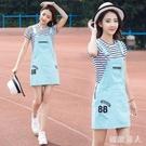 背帶裙女高中初中學生短裙夏2020新款14-16歲韓版18寬鬆可愛洋裝 LF4745【極致男人】