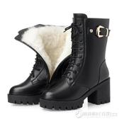 短靴女秋冬季女靴中筒靴子女高跟粗跟高筒靴加絨棉靴長靴馬丁靴女  圖拉斯3C百貨