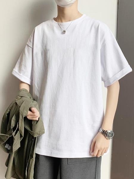 長袖上衣 純白色短袖T恤男士潮牌純棉長袖寬鬆體恤潮流夏季韓 果果生活館