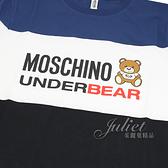 茱麗葉精品【全新現貨】 MOSCHINO 三色泰迪熊造型棉質短T恤.藍