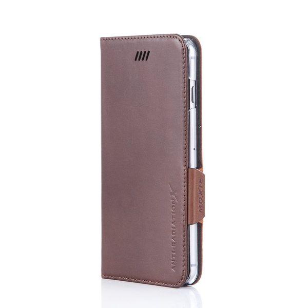 X-SHELL IPHONE 6 plus/6s plus 防電磁波真皮手機皮套 (時尚拼接紋 卡布奇諾)