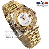 valentino coupeau 范倫鐵諾 羅馬城市 不鏽鋼 防水手錶 男錶 金色 鑲鑽 經典 放大日期 蠔式 V1217K羅金大