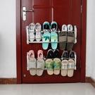 鞋架 家用新款免打孔門後掛式鞋架免釘鞋櫃防盜門鞋架黏貼置物架可掛式【免運直出】
