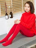 加絨加厚秋冬外穿紅色結婚打底褲女新款光腿神器肉色保暖連褲襪子  潮流前線