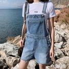 牛仔背帶短褲女2020年新款夏季高腰韓版寬鬆闊腿大碼胖mm吊帶褲子 LR22867『麗人雅苑』