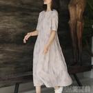 連衣裙2021新款文藝棉麻女裝裙子夏天【印花】寬鬆顯瘦長款連衣裙 快速出貨