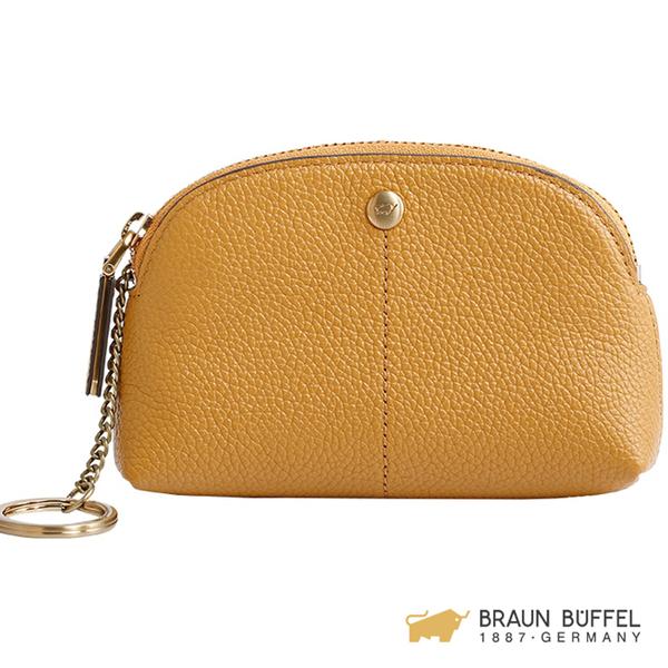 【BRAUN BUFFEL】珍妮絲系列荔枝紋零錢包 - 黃色 BF609-720-SUN