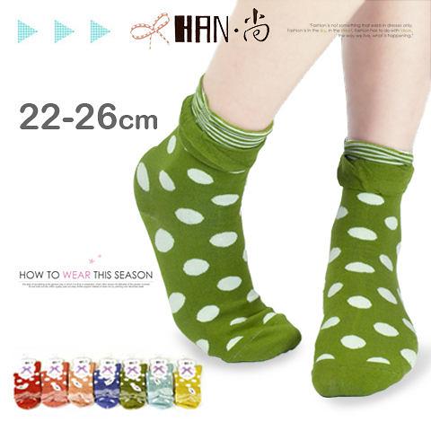 【esoxshop】HAN‧尚 花邊條紋大點點精梳棉少女襪│日韓系《棉襪/綿襪/造形短襪/造型短襪》