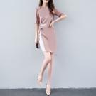 12h快速出貨 洋裝 夏季洋裝女中長款氣質短袖修身顯瘦端莊大氣女裝時尚OL裙子