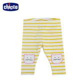 chicco-To Be Baby-內搭條紋貓咪長褲-黃白條