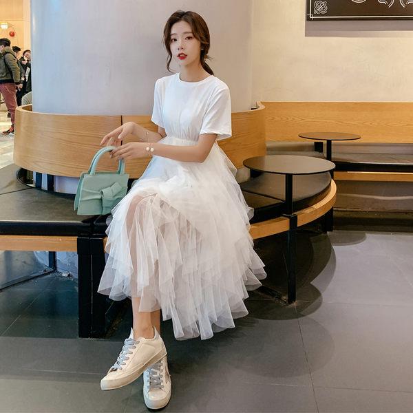 VK旗艦店 韓國風森系氣質拼接網紗短袖洋裝