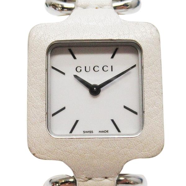 GUCCI 古馳 白色表面不銹鋼石英皮革腕錶 leather watch 【二手名牌BRAND OFF】