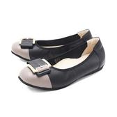 【南紡購物中心】W&M (女)圓頭拼接方釦 娃娃鞋 平底鞋 女鞋 -黑(另有藍.灰)