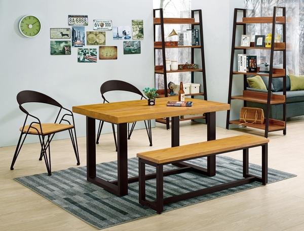 【森可家居】凱西4.3尺實木長板凳 10ZX722-14 3公分松木 黑鐵腳