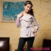 RED HOUSE-蕾赫斯-優雅短版雙排扣風衣外套