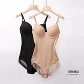 帶胸罩吊帶連身塑身衣夏季薄超薄一體式收腹束身束腰美體內衣女【聚物優品】
