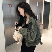 秋冬純色牛仔外套女韓版bf短款學生寬鬆開衫棒球服韓版夾克小外衣  koko時裝店