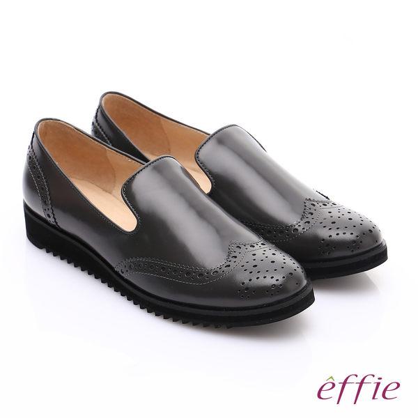 effie 都會休閒 鏡面真皮牛津雕花樂福鞋 灰色