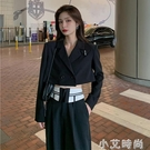 短款西裝外套女春秋設計感上衣2020新款秋季薄款炸街黑色垂感西服 小艾新品