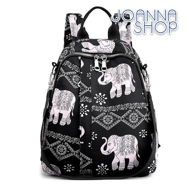 後背包 質感牛津布大象小女孩印花後背包-Joanna Shop