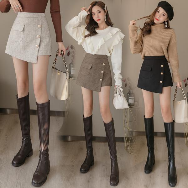 清倉288 韓系不規則顯瘦高腰短褲毛呢半身裙褲單品短褲