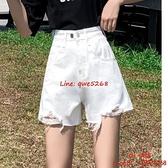 牛仔短褲女高腰夏季顯瘦寬松百搭闊腿a字熱褲潮ins【CH伊諾】