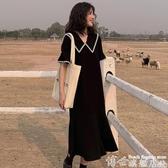 大碼連身裙 顯瘦大碼女裝洋氣2020夏裝新款法式連身裙子早春氣質兩件套裝胖mm  博世