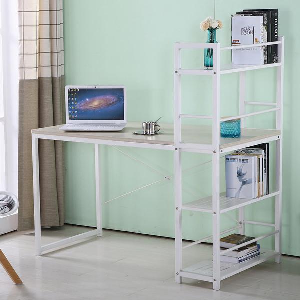 【森可家居】艾美4尺本色白腳書架型書桌(不含椅) 7JF385-3 L型多功能 北歐風 木紋質感