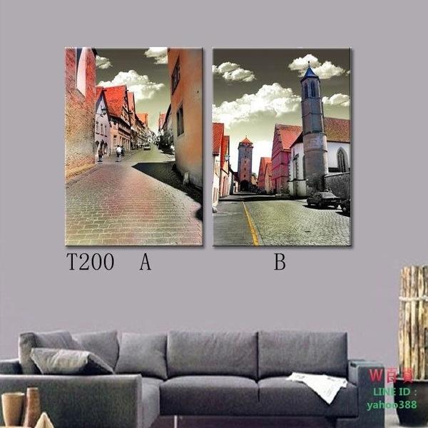 現代畫客廳無框畫臥室裝飾畫簡歐風掛畫簡約外國建筑物(W116)