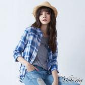 Victoria  雙面布寬鬆七分袖襯衫-女-藍格