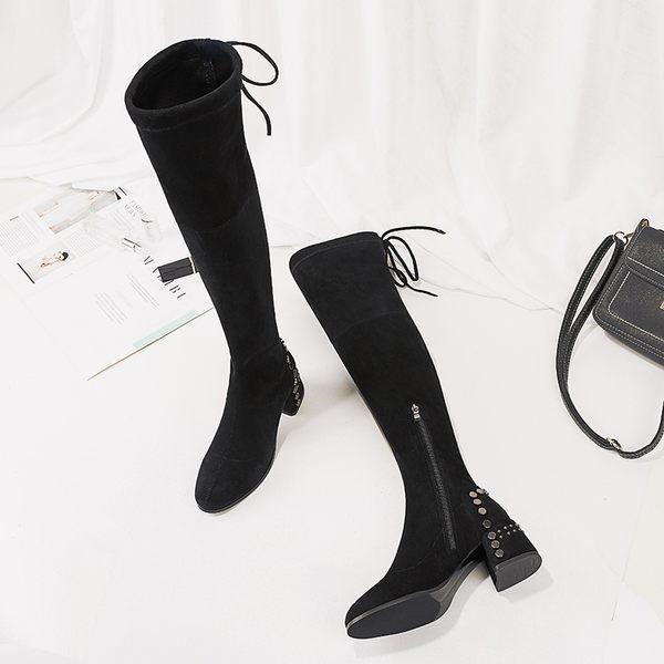 網紅鉚釘過膝長靴 女chic冬季新品粗跟彈力瘦瘦靴長筒馬丁靴女