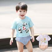 短袖包屁衣 假兩件 卡通圖案 格紋 爬服 哈衣 男寶寶 女寶寶 Augelute Baby 52338