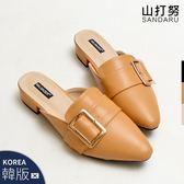 穆勒鞋 皮帶釦飾尖頭紳士拖鞋-山打努SANDARU【09666115#46】