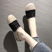 包頭涼拖鞋女新款大頭娃娃鞋亞麻孕婦鞋平底透氣鏤空半拖鞋 黛尼時尚精品