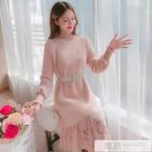 半高領洋裝女秋冬裝2019新款韓版中長款蕾絲拼接時尚打底衫  韓慕精品