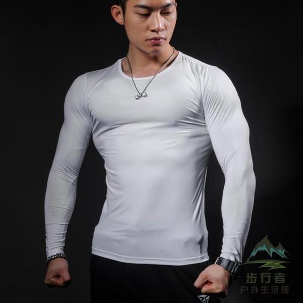 超顯肌肉緊身衣高彈力速干透氣排汗健身服長袖T恤【步行者戶外生活館】