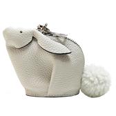 LOEWE 羅威 白色牛皮兔子零錢包 Bunny Flower Keychain Bag Charm 【二手名牌BRAND OFF】