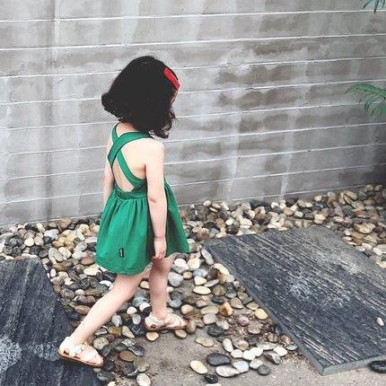 *╮S13小衣衫╭*女童清涼露背交叉連身裙小洋裝1080206