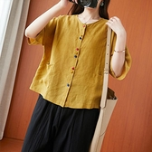 短袖 文藝短袖襯衫女夏季洋氣彩扣薄款小開衫寬鬆復古棉麻中袖T恤上衣