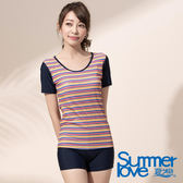 【Summer Love 夏之戀】亮麗條紋短袖長版二件式泳衣(E17796)