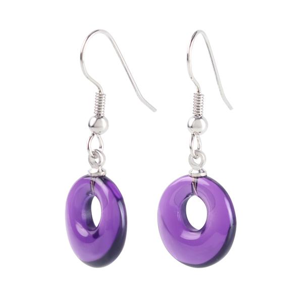 紫水晶耳環-紫色魔力 石頭記
