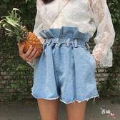 牛仔單寧短褲韓國新品素面荷葉邊高腰系帶收腰闊腿牛仔短褲女學生花苞熱褲(限時八八折)