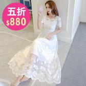 洋裝 韓版 小禮服 婚禮蕾絲短袖連身長裙 花漾小姐【現+預】