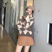 大韓訂製格紋V領毛衣韓系英倫風長袖學生上衣針織衫