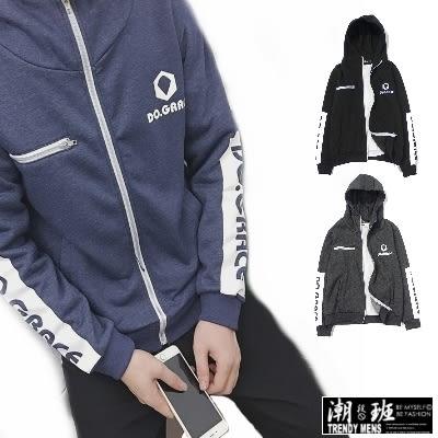 『潮段班』【ML030107】日韓秋冬新款 M-XL 潮流袖邊英文印花棉質加絨保暖舒適連帽夾克外套